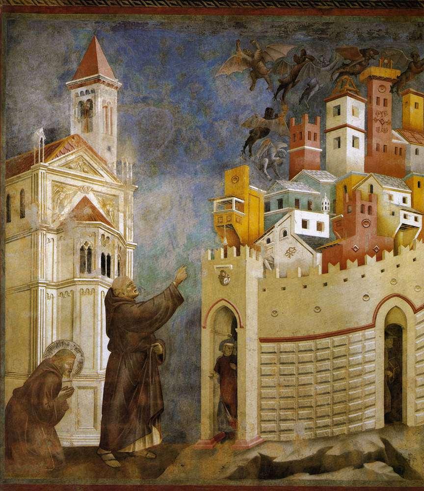 Veduta di Arezzo del Giotto con vista sul Colle del Pionta